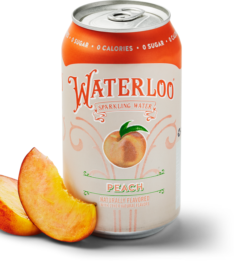 Waterloo Peach Can and Fruits
